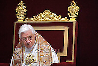 Pope Benedict XVI leads the celebration of Vespers on the feast of the Presentation of the Lord on February 2, 2012 at St Peter's basilica at the Vatican.