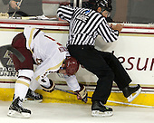 Michael Matheson (BC - 5), Chris Aughe - The Boston College Eagles defeated the visiting University of Massachusetts Lowell River Hawks 6-3 on Sunday, October 28, 2012, at Kelley Rink in Conte Forum in Chestnut Hill, Massachusetts.