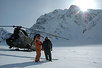 Chinook helicopter at Denali Base camp