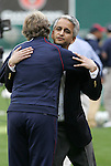 10 May 2008: United States Soccer Federation president Sunil Gulati (r) greets head coach Pia Sundhage (SWE). The United States Women's National Team defeated the Canada Women's National Team 6-0 at RFK Stadium in Washington, DC in a women's international friendly soccer match.