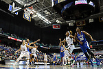 04 March 2016: Duke's Oderah Chidom (22 in blue) shoots a free throw. The Duke University Blue Devils played the University of University of Notre Dame Fighting Irish at the Greensboro Coliseum in Greensboro, North Carolina in an Atlantic Coast Conference Women's Basketball Tournament Quarterfinal and a 2015-16 NCAA Division I Women's Basketball game. Notre Dame won the game 83-54.