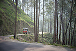 A truck coming down a forested hilly road in the upper Himalayas, September 2009