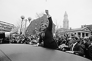 November 9th 1979, Boston, Massachusetts, American politician Edward Kennedy. Kennedy, known as Ted, has been a member of the Democrat Party and Senator of Massachusetts at the US Congress since 1962. Kennedy, brother of former President John F. Kennedy and Senator Robert Kennedy, both of whom were assassinated, is regarded as an icon of the Democrat Party and a liberal. Having officially announced his candidature to the American presidential elections, the senator embarked upon his election campaign. Kennedy would later lose the Democratic nomination to Jimmy Carter.