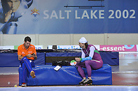 SCHAATSEN: SALT LAKE CITY: Utah Olympic Oval, 14-11-2013, Essent ISU World Cup, training, Gianni Romme (trainer/coach Team LiGA), Gerard van Velde (trainer/coach Team Beslist.nl), ©foto Martin de Jong
