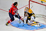 24 January 2009: Boston Bruins goaltender Tim Thomas stops Washington Capitals left wing forward Alex Ovechkin in the first round of the Elimination Shootout of the NHL SuperSkills Competition, during the All-Star Weekend at the Bell Centre in Montreal, Quebec, Canada. ***** Editorial Sales Only ***** Mandatory Photo Credit: Ed Wolfstein Photo