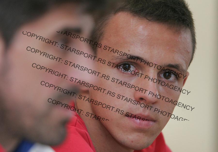 Fudbal Soccer<br /> Press conference prior the U19 European championship in Hungary<br /> Head coach Veljko Paunovic (L) and Nemanja Maksimovic<br /> Beograd, 07.15.2014<br /> foto: Srdjan Stevanovic/Starsportphoto &copy;