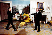 United States President Ronald Reagan greets CBS News anchor Walter Cronkite as they prepare for an interview in the Diplomatic Reception Room of the White House in Washington, D.C. on Tuesday, March 3, 1981..Mandatory Credit: Michael Evans - White House via CNP