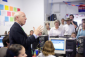 Bill White, the Democratic candidate for Texas governor, visits his Austin, Texas call center.
