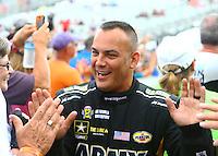 May 1, 2016; Baytown, TX, USA; NHRA top fuel driver Tony Schumacher during the Spring Nationals at Royal Purple Raceway. Mandatory Credit: Mark J. Rebilas-USA TODAY Sports