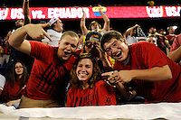 United States fans. The men's national team of the United States (USA) was defeated by Ecuador (ECU) 1-0 during an international friendly at Red Bull Arena in Harrison, NJ, on October 11, 2011.