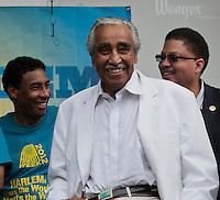 Harlem Congressman Charles Rangel at the Harlem Week street fair on West 135th Street in Harlem in New York on Sunday, August 19, 2012. (© Richard B. Levine)