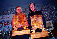 North Shore, Oahu, Hawaii. Michael Rommelse (AUS)  and Layne Beachley (AUS) the Vans Triple Crown of Surfing Champions in 1997.Photo: joliphotos.com