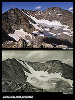 A photo comparison of Arapaho Glacier near the Indian Peaks Wilderness area, Colorado, 1914 and 2009.