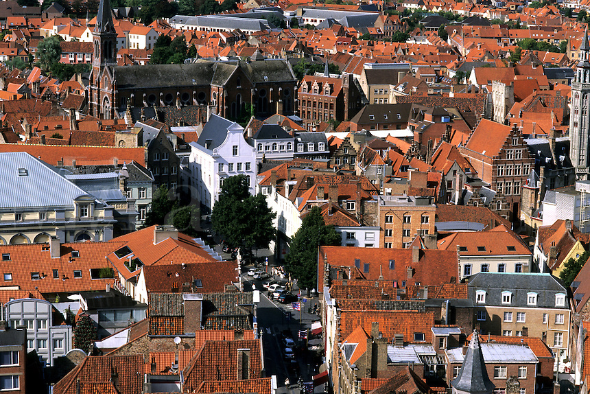 Belgium Market Place building roofs taken from Belfort 337 steps above center  in the colorful city of Bruges