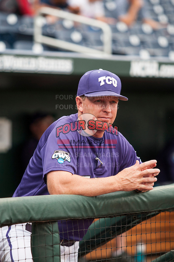 TCU Horned Frogs Head Coach Jim Schlossnagle (22) before Game 10 of the NCAA College World Series against the LSU Tigers on June 18, 2015 at TD Ameritrade Park in Omaha, Nebraska. TCU defeated the Tigers 8-4, eliminating LSU from the tournament. (Andrew Woolley/Four Seam Images)