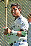 30 June 2012: Vermont Lake Monsters infielder Miguel Marte awaits his turn in the batting cage prior to a game against the Lowell Spinners at Centennial Field in Burlington, Vermont. Mandatory Credit: Ed Wolfstein Photo