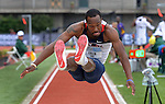 12 JUNE 2010: Caleb Lee of Mississippi flies through the air in the Mens long jump during the Division I Men's and Women's Track and Field Championship held at Hayward Field on the University of Oregon campus in Eugene, OR.  Steve Dykes/NCAA Photos