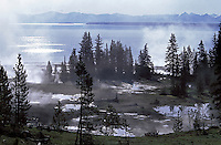 USA, Wyoming, Yellowstone NP, Yellowstone Lake, steam rising from thermal pools