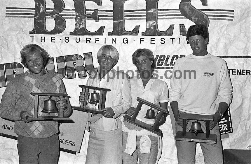Joe Engle (AUS) the first surfer to win both the Quiksilver Trials and the Rip Curl Pro, Jodie Cooper (AUS)  2nd and Wes Laine (USA)  2nd, holding their Rip Curl Pro Bell trophies Photo: joliphotos.com.