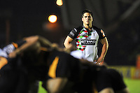 Ben Botica watches a scrum develop. J.P. Morgan Premiership Rugby 7s match, between London Wasps and Harlequins on July 13, 2012 at the Twickenham Stoop in London, England. Photo by: Patrick Khachfe / Onside Images