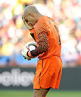 USA goalkeeper Tim Howard wipes his forehead. USA tied Slovenia 2-2 in the 2010 FIFA World Cup at Ellis Park in Johannesburg, South Africa on June 18th, 2010.