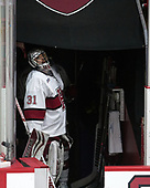 Merrick Madsen (Harvard - 31) - The Harvard University Crimson defeated the St. Lawrence University Saints 6-3 (EN) to clinch the ECAC playoffs first seed and a share in the regular season championship on senior night, Saturday, February 25, 2017, at Bright-Landry Hockey Center in Boston, Massachusetts.