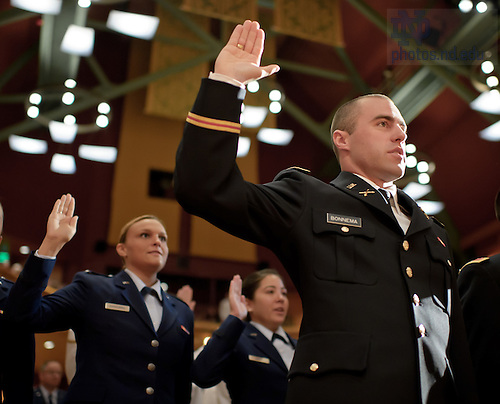 May 19, 2012; ROTC second lieutenants and ensigns are sworn in at the ROTC commissioning ceremony at the Leighton Concert Hall...Photo by Matt Cashore/University of Notre Dame