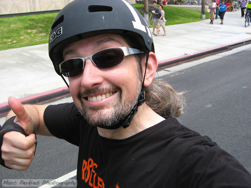 Me skating on Wilshire Blvd near LACMA during CicLAvia's June 2013 event.  No cars for 6 miles of Wilshire Blvd - it was great!