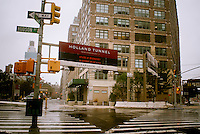 "The entrance to the Holland Tunnel in New York on Monday, October 29, 2012. The Port Authority will be closing the tunnel in the early afternoon. Hurricane Sandy continues its steady advance with heavy wind and rain. New York has shut down the schools, the transit system and the Holland and Hugh L. Carey Tunnels have been closed. Evacuations have been ordered in the ""Zone A"" areas including Battery Park City. (© Richard B. Levine)"