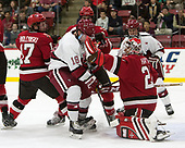 Drew Smolcynski (SLU - 17), Adam Fox (Harvard - 18), Eric Sweetman (SLU - 2), Kyle Hayton (SLU - 27), Tyler Moy (Harvard - 2) - The Harvard University Crimson defeated the St. Lawrence University Saints 6-3 (EN) to clinch the ECAC playoffs first seed and a share in the regular season championship on senior night, Saturday, February 25, 2017, at Bright-Landry Hockey Center in Boston, Massachusetts.