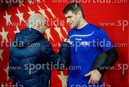 Lojze Grcman and Julen Akizu Aguinagalde after the practice session of Team Spain on Day 1 of Men's EHF EURO 2016, on January 15, 2016 in Centennial Hall, Wroclaw, Poland. Photo by Vid Ponikvar / Sportida