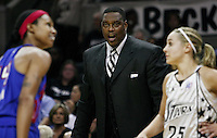 Detroit assistant coach Rick Mahorn instructs his players during Game 2 of the WNBA Finals between the Detroit Shock and the San Antonio Silver Stars, Oct. 3, 2008, at the AT&T Center in San Antonio. Detroit won 69 - 61 to go up 2 - 0 in the best-of-five series. (Darren Abate/pressphotointl.com)