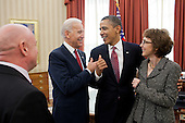 United States President Barack Obama and Vice President Joe Biden talk with former U.S. Representative Gabrielle Giffords (Democrat of Arizona) and her husband, Mark Kelly, after the President signed H.R. 3801, the Ultralight Aircraft Smuggling Prevention Act of 2012, in the Oval Office, February 10, 2012. The bill was the last piece of legislation that Giffords sponsored and voted on in the U.S. House of Representatives. .Mandatory Credit: Pete Souza - White House via CNP