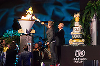 LAS VEGAS, NV - August 5, 2016: ***HOUSE COVERAGE*** Gordon Ramsay pictured lighting the ceremonial cauldron as Caesars Palace celebrates it's 50th anniversary with a pool party celebration hosted by Gordon Ramsay at Garden of the Gods Pool Oasis at Caesars Palace in Las vegas, NV on August 5, 2016. Credit: Erik Kabik Photography/ MediaPunch