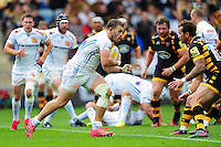 Luke Cowan-Dickie of Exeter Chiefs takes on the Wasps defence. Aviva Premiership match, between Wasps and Exeter Chiefs on September 4, 2016 at the Ricoh Arena in Coventry, England. Photo by: Patrick Khachfe / JMP