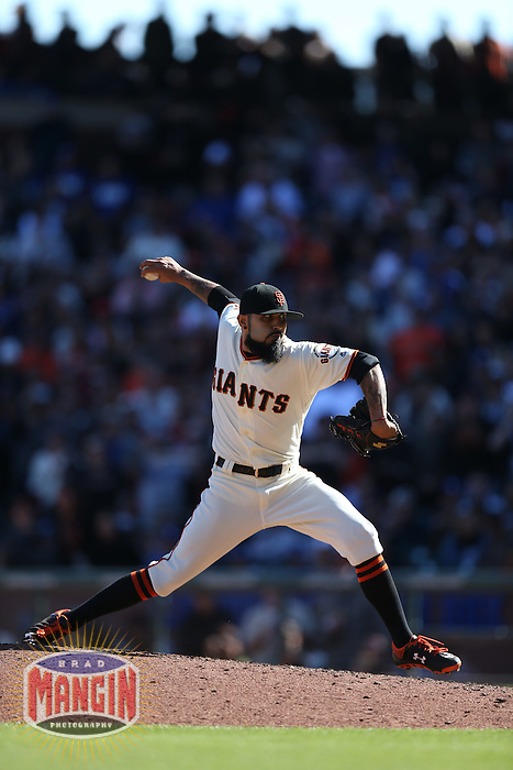 SAN FRANCISCO, CA - OCTOBER 2:  Sergio Romo #54 of the San Francisco Giants pitches against the Los Angeles Dodgers during the game at AT&T Park on Sunday, October 2, 2016 in San Francisco, California. Photo by Brad Mangin