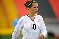 Carli Lloyd. The USA defeated Norway 2-1 at Olhao Stadium on February 26, 2010 at the Algarve Cup.