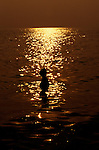 Zanzibar, Tanzania. Person swimming in the sea as the sun goes down.