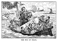 The Tug of Peace. (a tug boat renamed Barnum from Oscar II is laden with pacifists captained by Henry Ford and aesthetes playing the harp while an American ship is sunk and a German u-boat captain welcomes their boat during WW1)