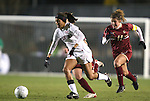 03 December 2010: Stanford's Christen Press (23) is chased by Boston College's Hannah Cerrone (11). The Stanford University Cardinal defeated the Boston College Eagles 2-0 at WakeMed Stadium in Cary, North Carolina in an NCAA Women's College Cup semifinal game.