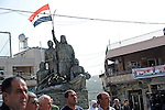 Druze hold a pro-Syrian demonstration on the Syrian independence day, in Majdal Shams, Golan Heights.
