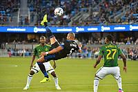 San Jose, CA - Saturday May 06, 2017: Victor Bernardez during a Major League Soccer (MLS) match between the San Jose Earthquakes and the Portland Timbers at Avaya Stadium.