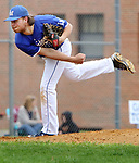 BURLINGTON CT. 24 April 2017-042417SV12-#17 Billy Willett of Lewis Mills pitches against Terryville High during the 3rd inning in Burlington Monday. <br /> Steven Valenti Republican-American