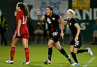 USWNT forward Abby Wambach celebrates her second goal with midfielder Megan Rapinoe. USWNT played played a friendly against Canada at JELD-WEN Field in Portland, Oregon on September 22, 2011.