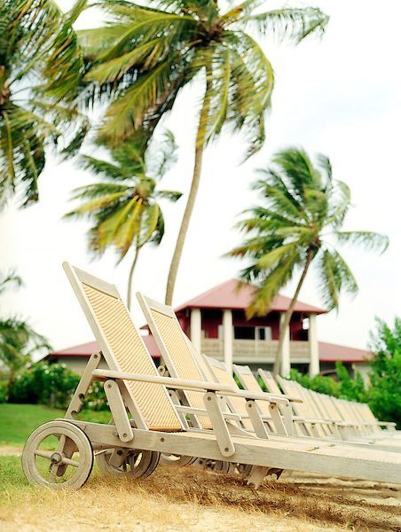 LE FRANCOIS, MARTINIQUE : Beach chairs at the Cap Est Lagoon Resort & Spa. Cap Est, Martinique. Eastern Caribbean.