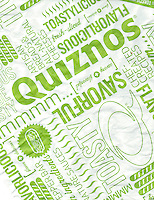 Submarine sandwich wrapping paper from a Quiznos franchise in New York on Monday, February 24, 2014. Avenue Capital, the owner of the sandwich chain, is in talks to restructure $600 million in debt. The lenders gave the chain until February 28 to settle with its creditors. Quiznos has 2300 stores compared to competitor Subway with 26,000 stores in the US alone. (© Richard B. Levine)