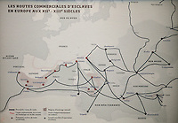 Map showing the routes of the slave trade through Europe in the 12th and 13th centuries, in the Musee d'Aquitaine, Cours Pasteur, Bordeaux, Aquitaine, France. Picture by Manuel Cohen