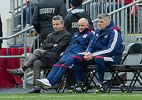 21 April 2012: From left to right Chicago Fire head coach Frank Klopas, Chicago Fire assistant coach Mike Matkovich and Chicago Fire assistant coach Leo Percovich watch the action during a game between the Chicago Fire and Toronto FC at BMO Field in Toronto..The Chicago Fire won 3-2....
