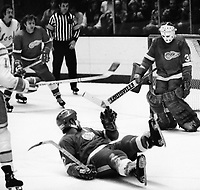 Detroit Red Wing goalie Tery Richardson blocks shot by California Golden Seals. (1975 photo/Ron Riesterer