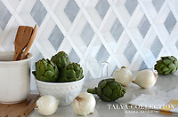 Hippodrome, a stone waterjet mosaic shown in Allure honed, Afyon White polished and Snow White polished, is part of the Talya Collection by Sara Baldwin for Marble Systems. As seen in Veranda.